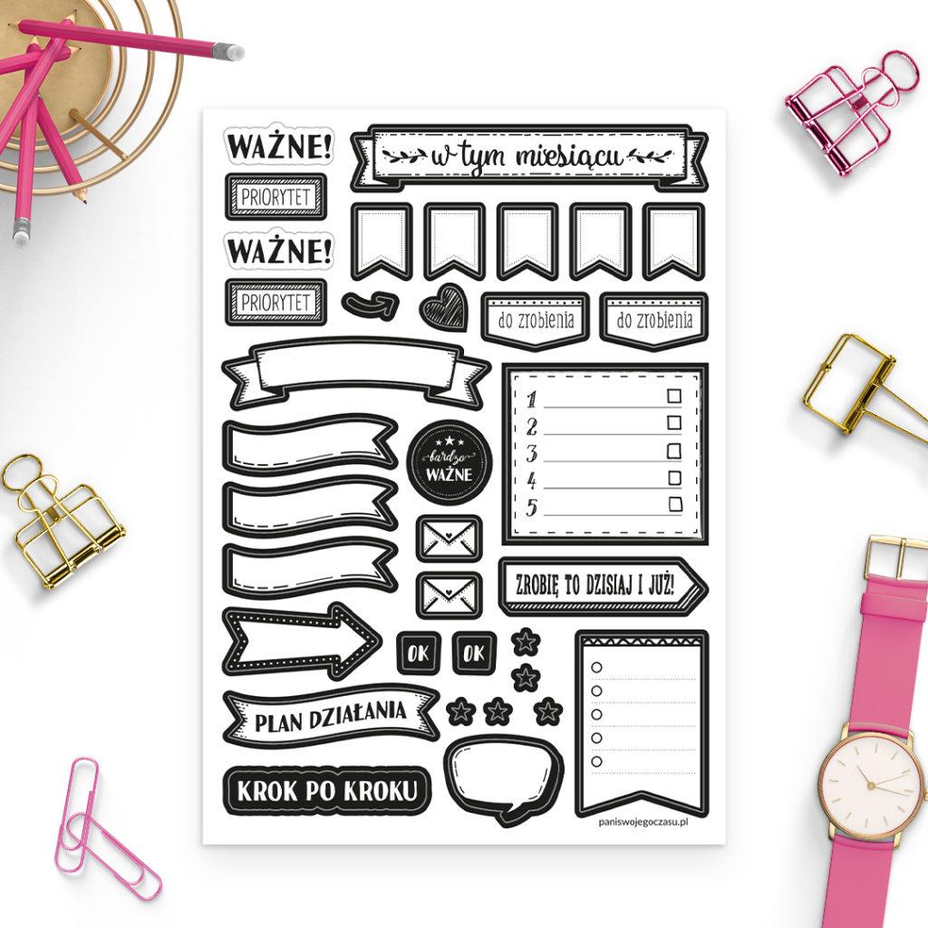 Zestaw naklejek czarno-białe do planowania miesiąca - świetne do bullet journal bujo - planuj po swojemu