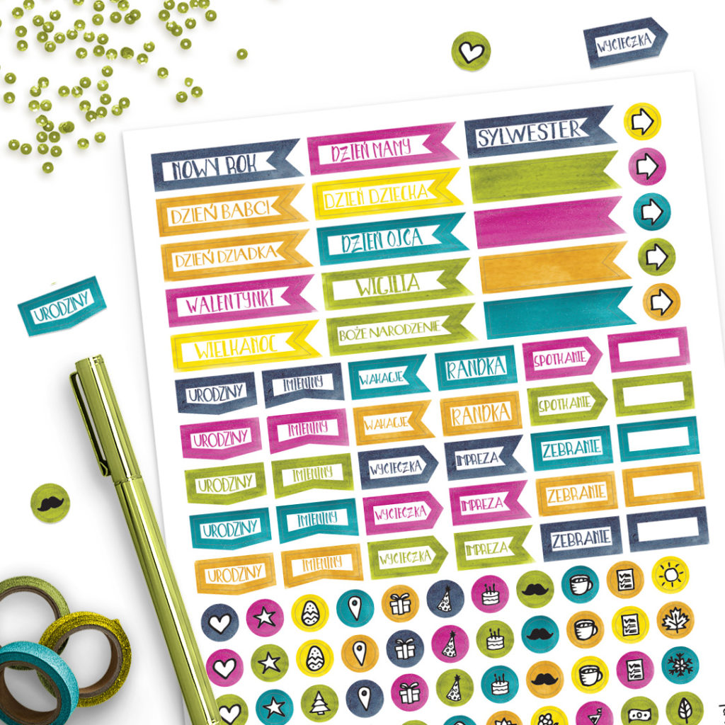 Zestaw naklejek kolorowych na różne okazje - świetne do bullet journal bujo - planuj po swojemu