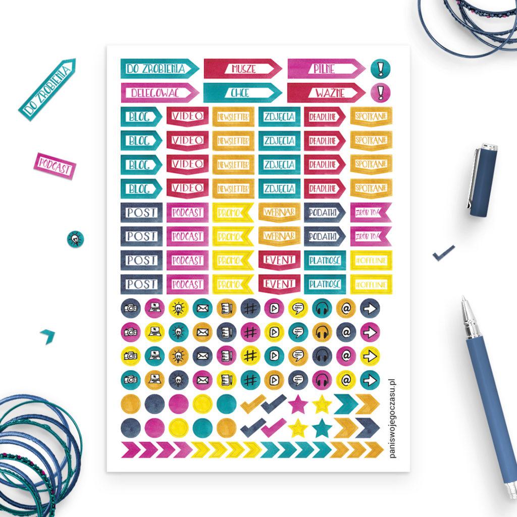 Zestaw naklejek kolorowych media społecznościowe - świetne do bullet journal bujo - planuj po swojemu
