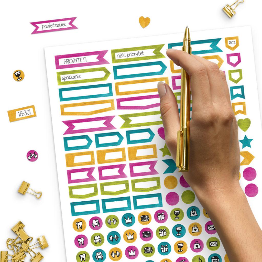 Zestaw naklejek kolorowych do wypełniania - świetne do bullet journal bujo - planuj po swojemu