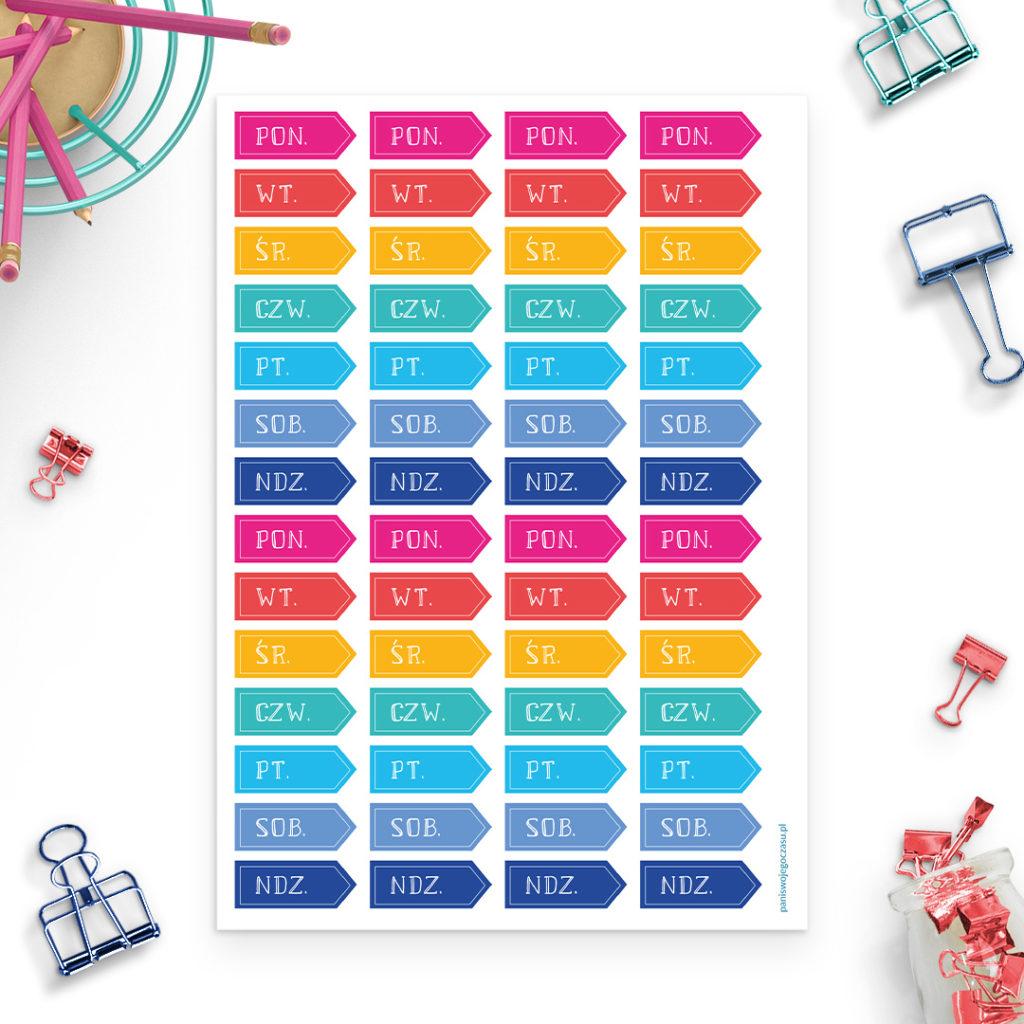 Zestaw naklejek kolorowe dni tygodnia - świetne do bullet journal bujo - planuj po swojemu