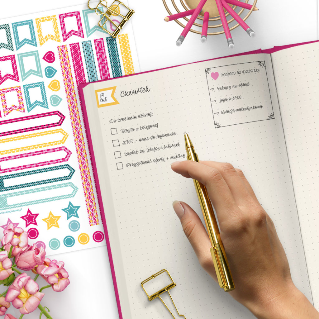 Kółka, serduszka, paski - zestaw naklejek - świetne do bullet journal bujo - planuj po swojemu
