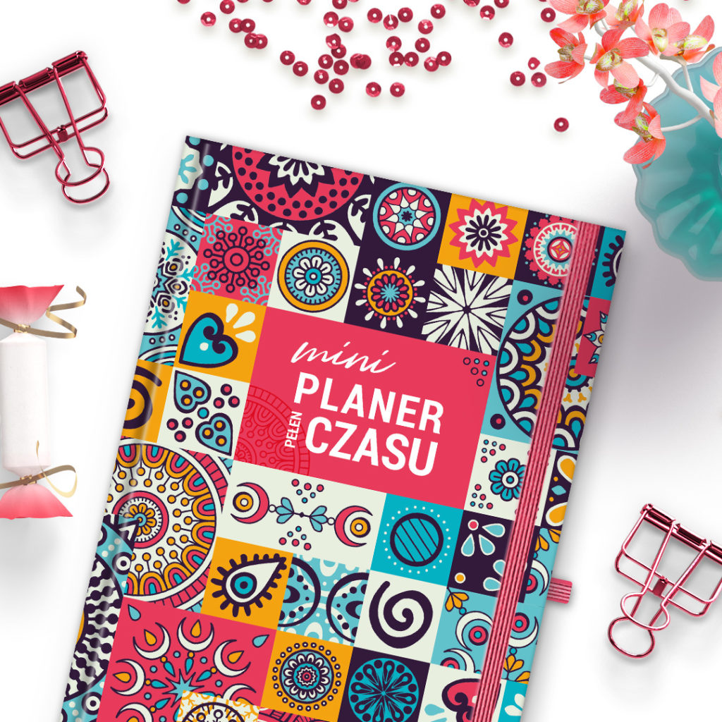 Mini Planer Pełen Czasu etno -idealny do bullet journal bujo - kartki w kropki