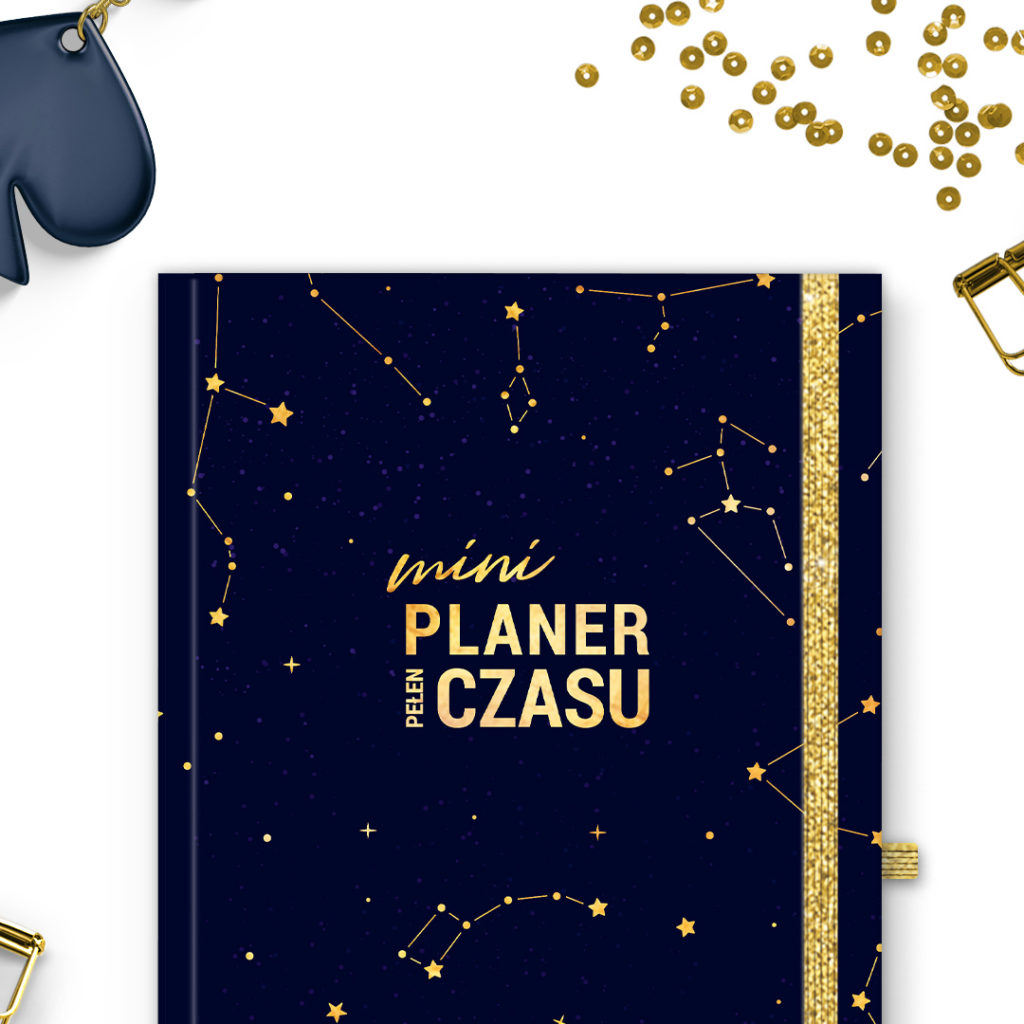 Mini Planer Pełen Czasu złote konstelacje -idealny do bullet journal bujo - kartki w kropki