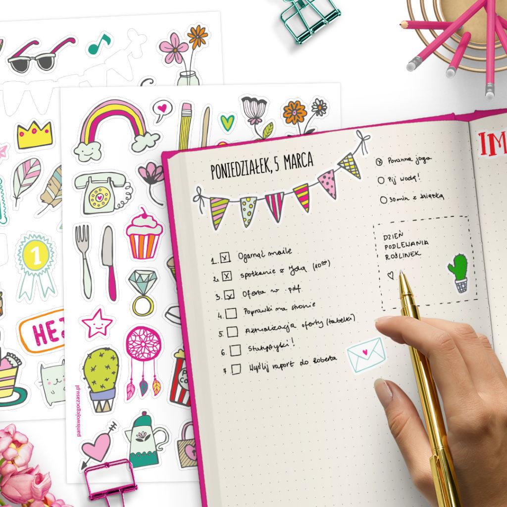 Zestaw naklejek do radosnego planowania - świetne do bullet journal bujo - planuj po swojemu