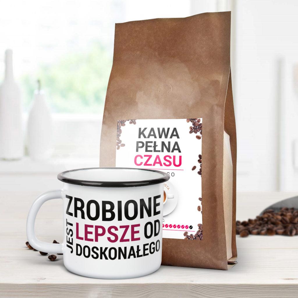 Kubek emaliowany Zrobione jest lepsze od doskonałego Pani Swojego Czasu + najlepsza kawa pełna czasu