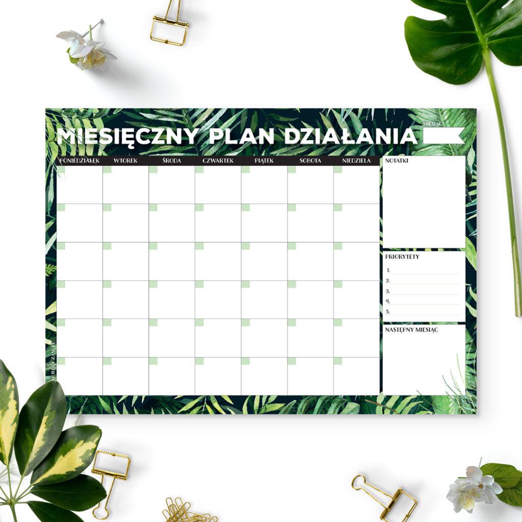Miesięczny plan działania #dżunglove - bloczek - organizacja czasu