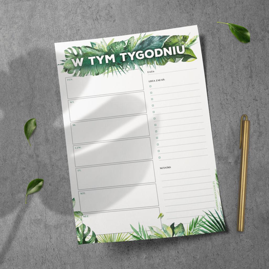 Lista tygodniowa #dżunglove - bloczek - organizacja czasu