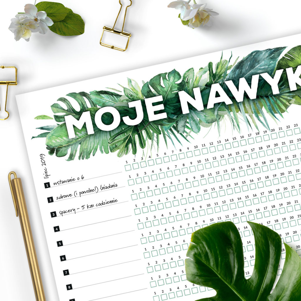 Lista Moje nawyki A4 #dżunglowe - planuj i działaj!
