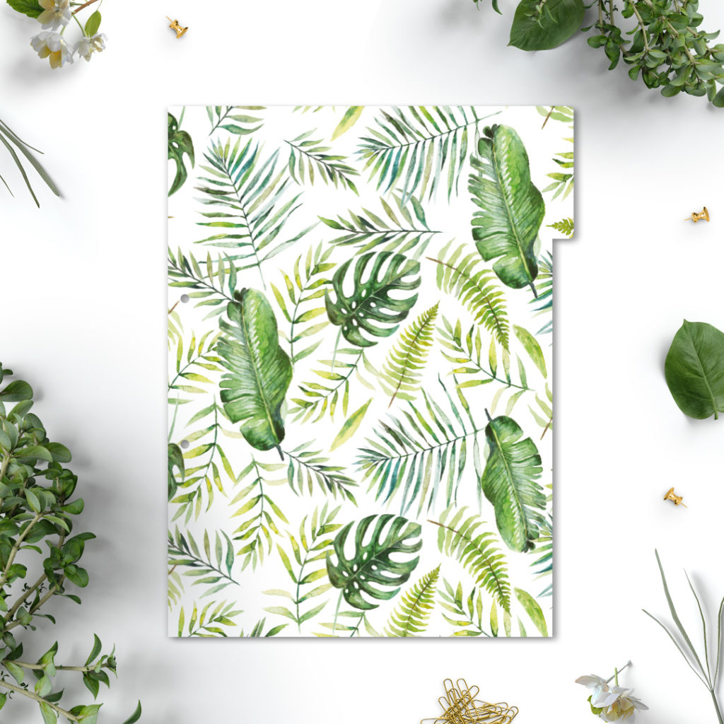 Przekładki do segregatora z kolekcji #dżunglove A4 - liście kwiaty motyle