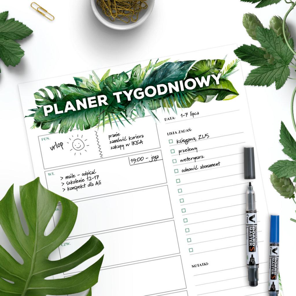 Suchościeralny planer tygodniowy #dżunglove - zarządzanie czasem, organizacja