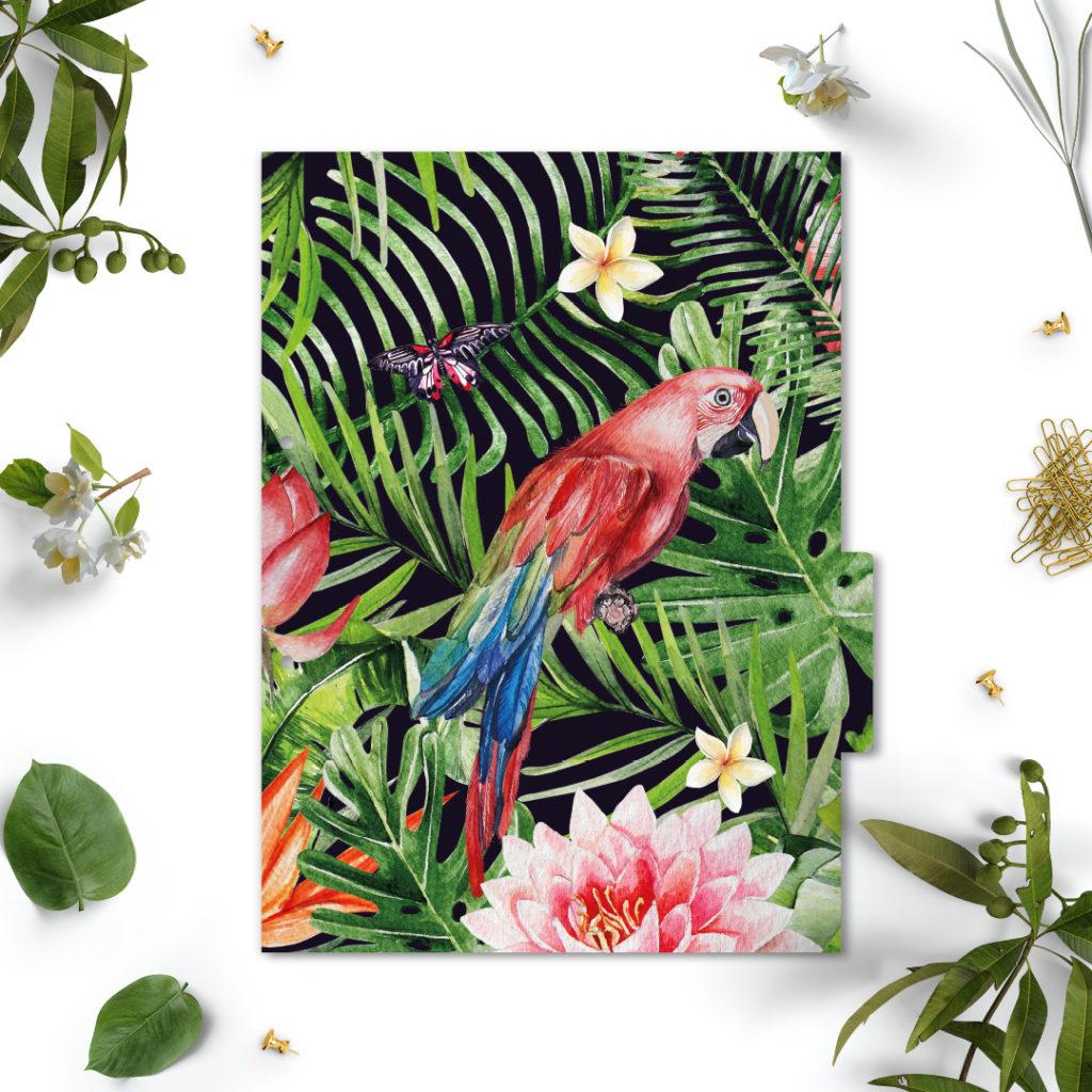 Przekładki do segregatora z kolekcji #dżunglove A4 - liście kwiaty papugi