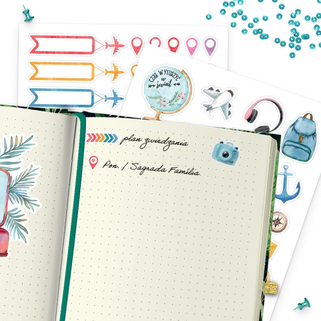 Naklejki globtroterki świetne do bullet journal bujo - planuj po swojemu