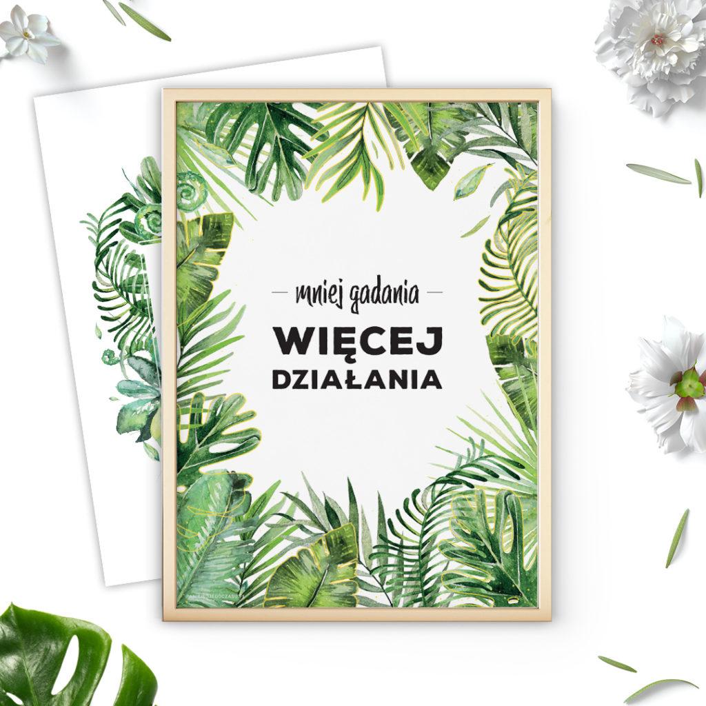 Plakat z hasłem motywującym dżungla #dżunglove - dwustronny