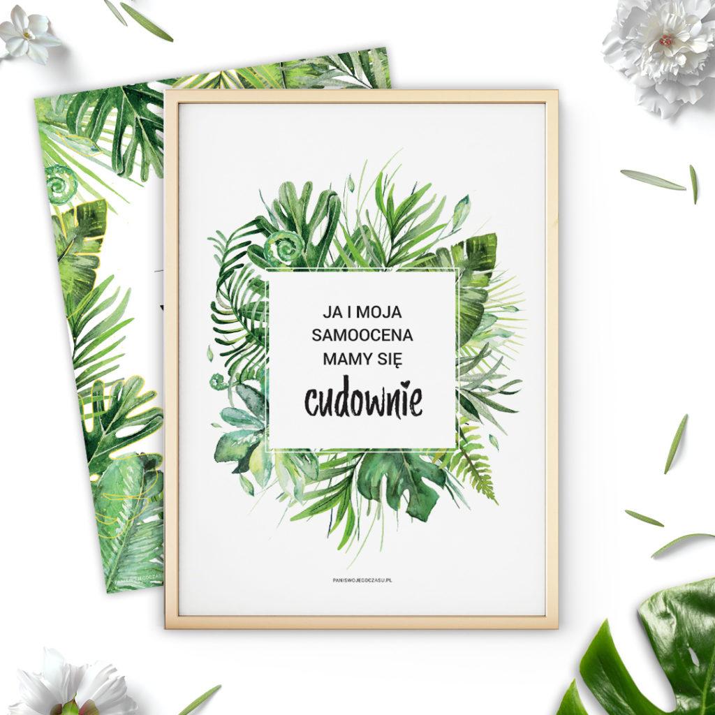 Plakat z hasłem motywującym dżungla #dżunglove - ze złoceniami