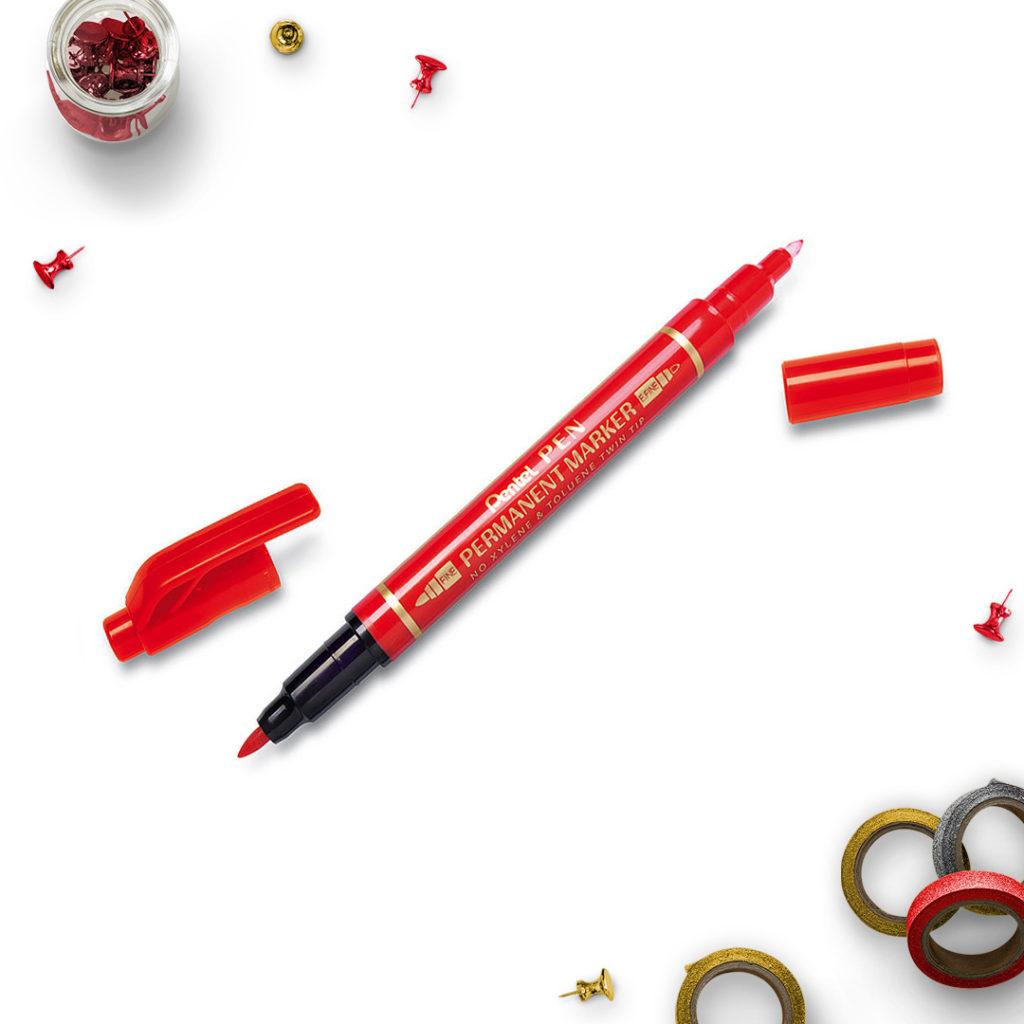Pentel Marker Permanentny czerwony dwie końcówki