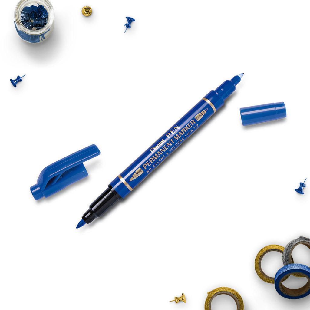Pentel Marker Permanentny niebieski dwie końcówki