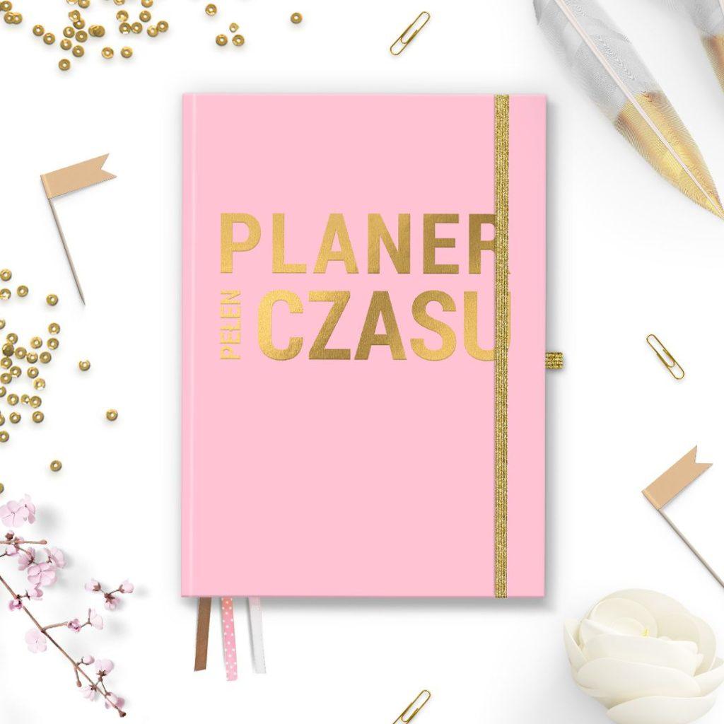 Planer Pani Swojego Czasu pudrowy róż ze złotym napisem do bullet journal