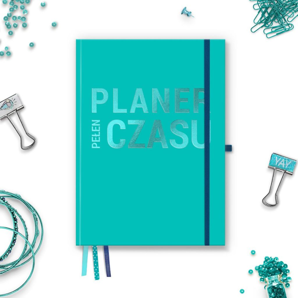 Planer Pełen Czasu B5 Turkusowy z błyszczącym napisem z gumką, w kropki - do bullet journal bujo