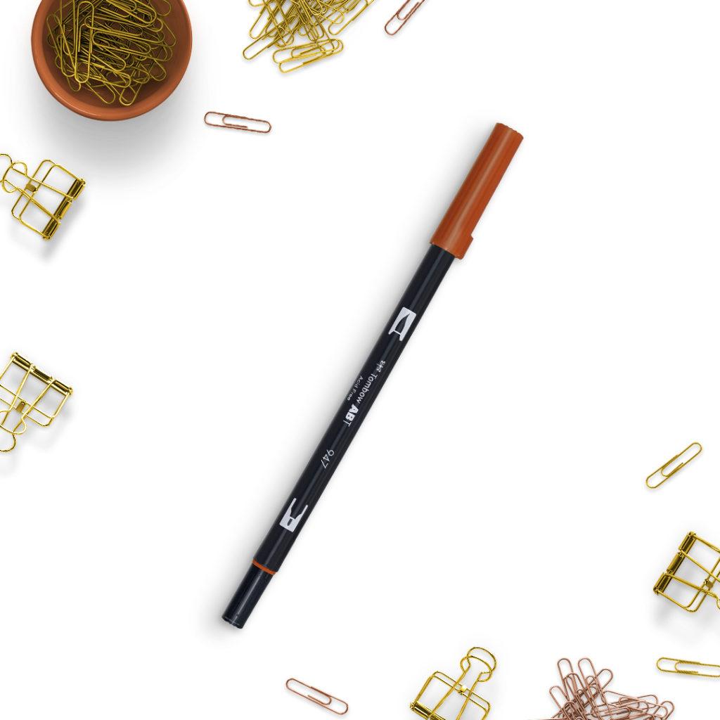 Tombow Brunt Sienna 947 - bullet journal bujo brush pens