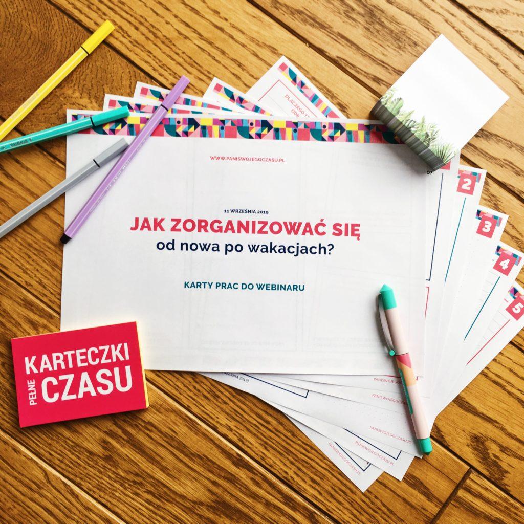 Jak zorganizować się od nowa po wakacjach - Karty pracy do webinaru