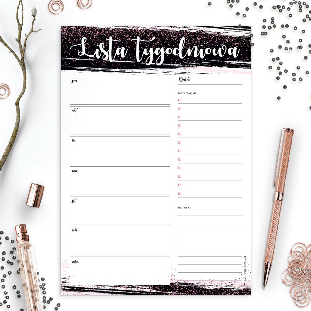 Lista tygodniowa brokatowa #glamourPSC - bądź lepiej zorganizowana i planuj po swojemu