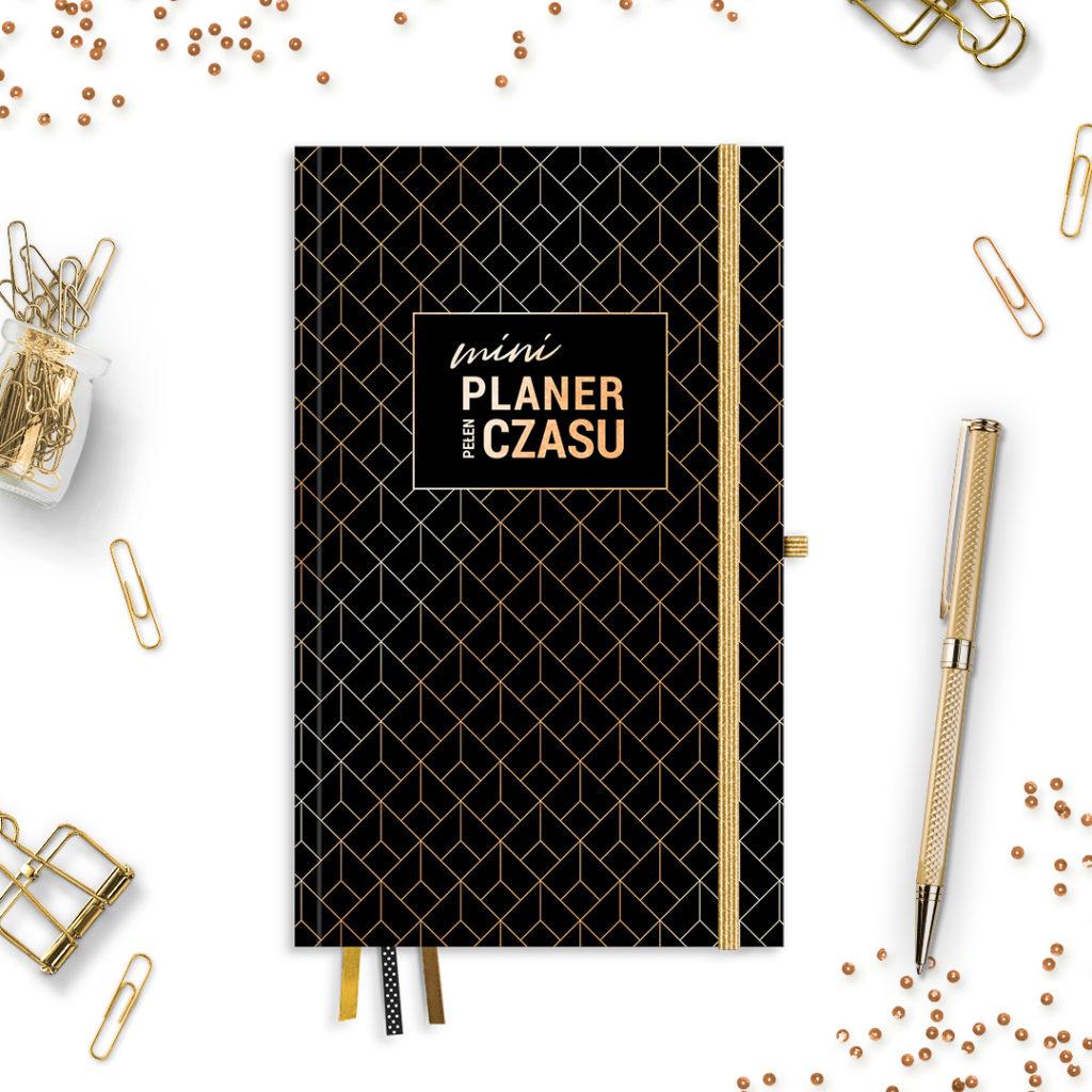 Mini Planer Pełen Czasu w wersji #glamourPSC czarny -idealny do bullet journal bujo - kartki w kropki