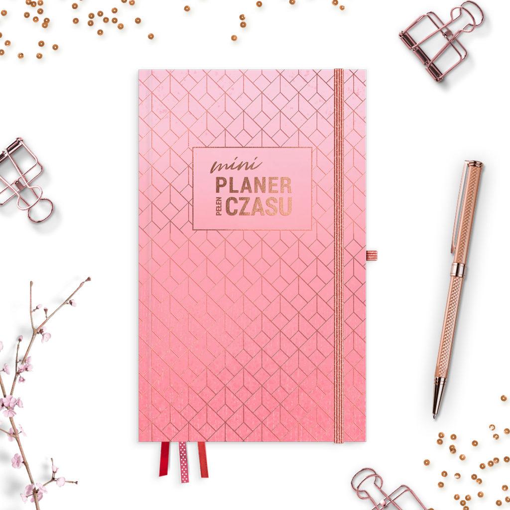 Mini Planer Pełen Czasu w wersji #glamourPSC różowy -idealny do bullet journal bujo - kartki w kropki