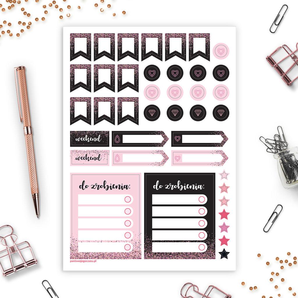 Zestaw naklejek #glamourPSC świetne do bullet journal bujo - planuj po swojemu