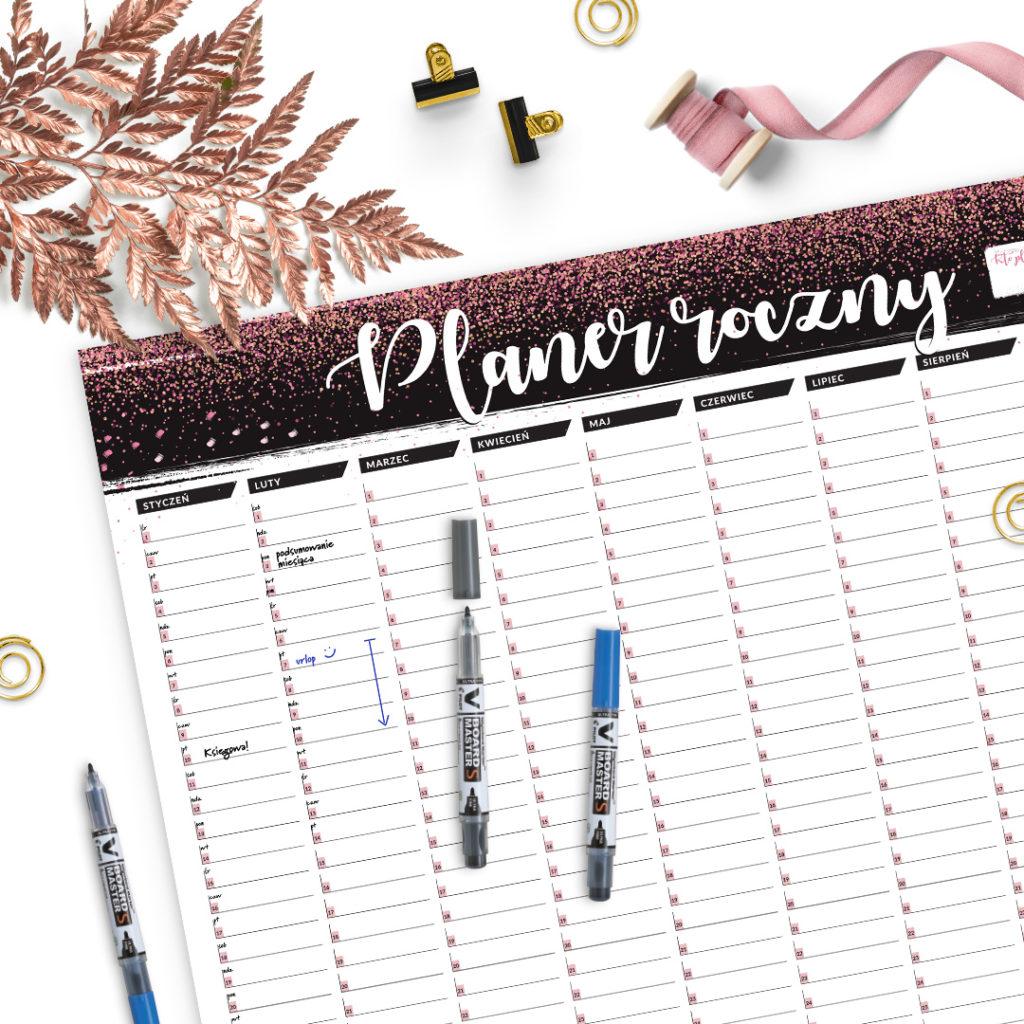 Suchościeralny planer roczny A1 brokatowy #glamourPSC - zarządzanie czasem i organizacja