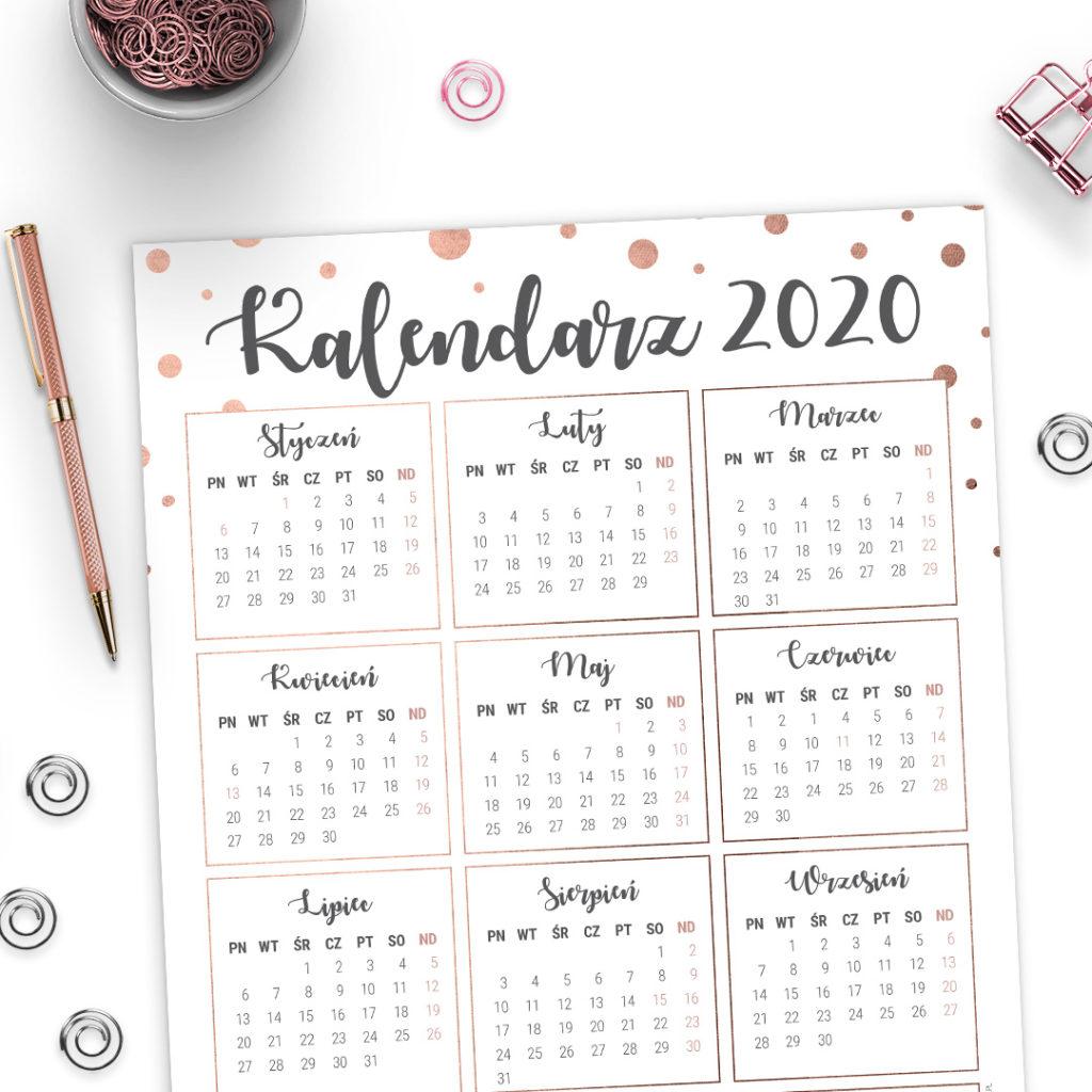 Kalendarz 2020 #glamourPSC rose-gold plakat