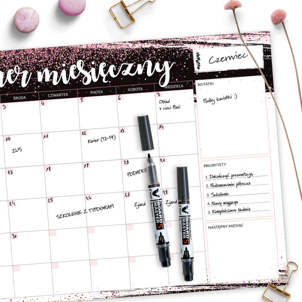 Suchościeralny planer miesięczny brokatowy #glamourPSC - zarządzanie czasem i organizacja