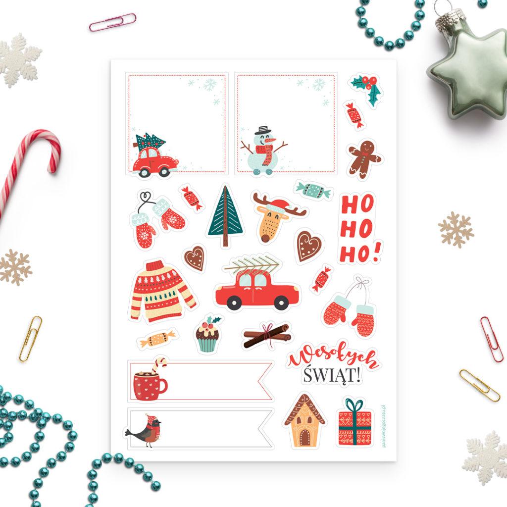 Świąteczne naklejki zimowe do bullet journal i na prezenty
