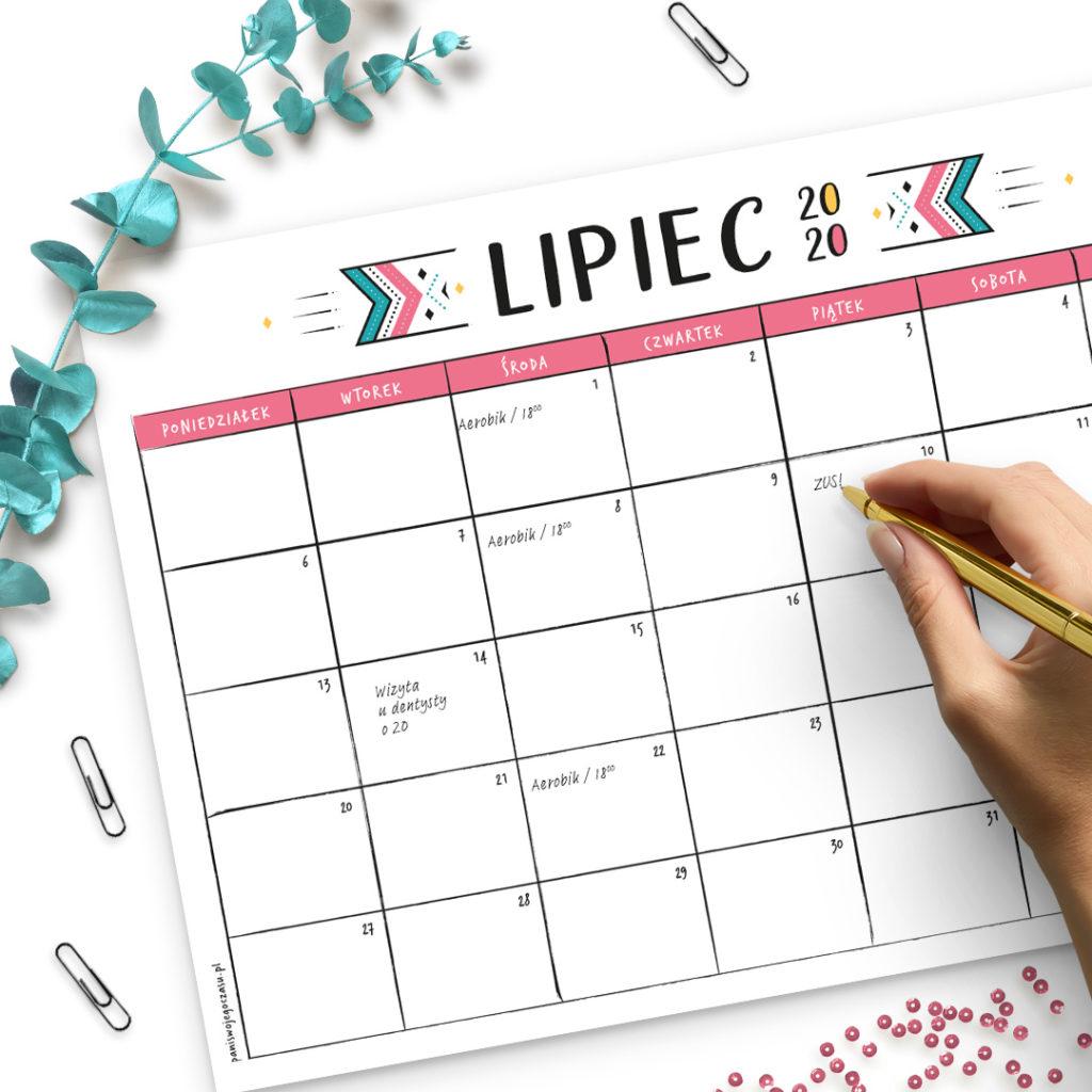 Kalendarze 2020 A4 do druku - kolorowe