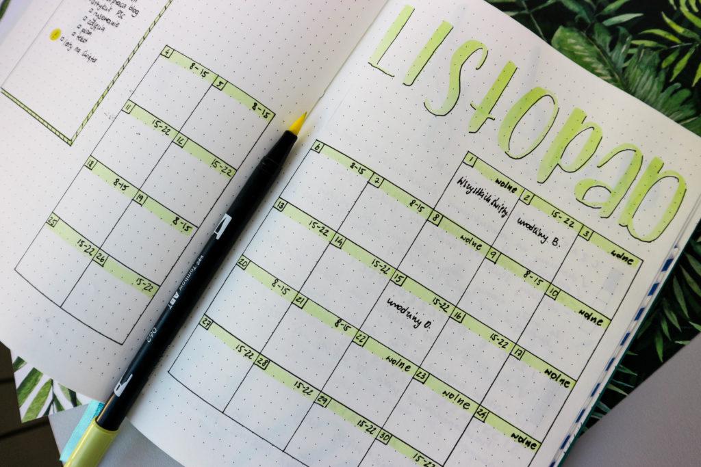 rozkładówka miesięczna w bullet journal