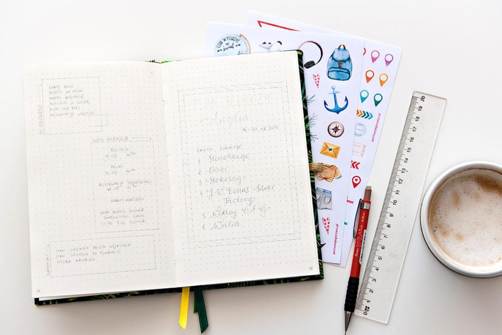 Notatki w notesie w kropki.