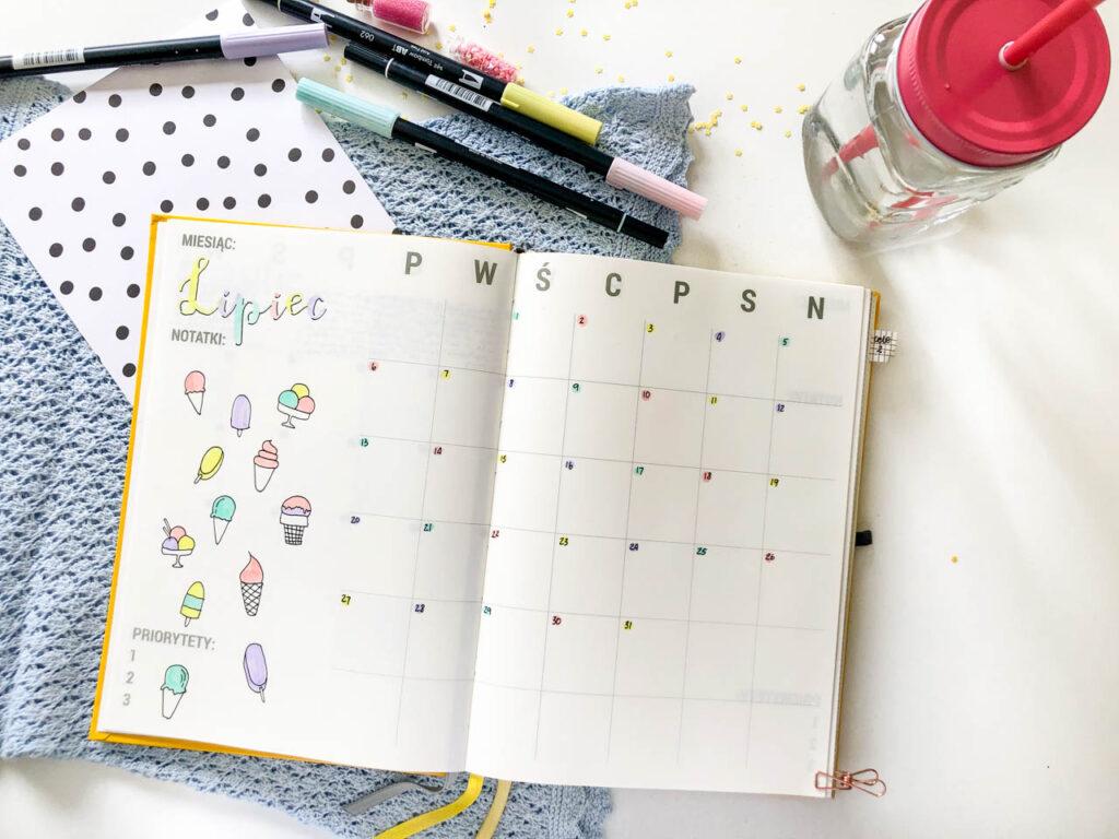 Kalendarz - strona na lipiec.