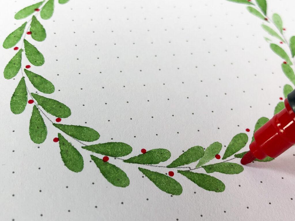 Kartka świąteczna DIY. Czerwony brushpen tombow dual.Zielony wieniec.