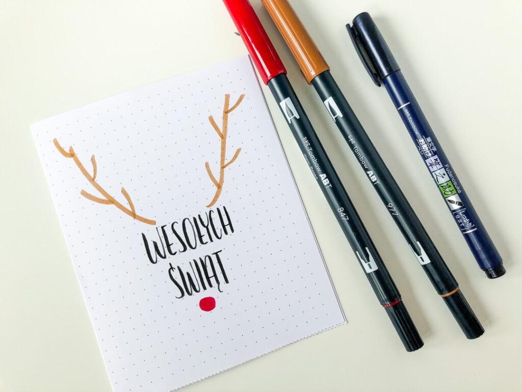 Kartka świąteczna DIY. Rysunek renifera i życzenia. Brushpen tombow dual fudenosuke.