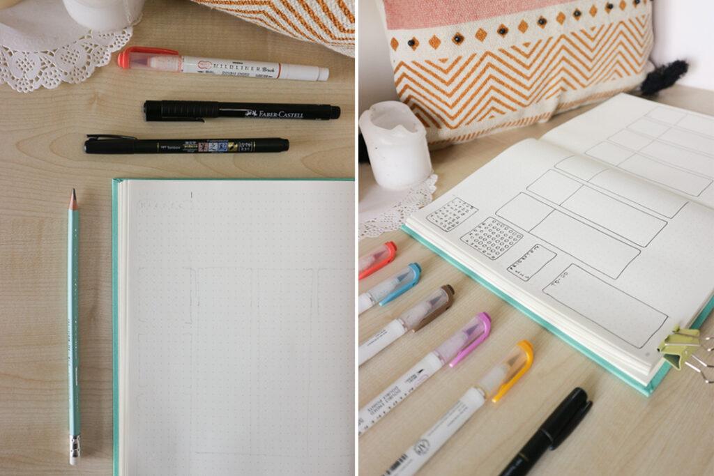 Pusty notes w kropki. Notes z rozkładówka. Przybory do pisania.