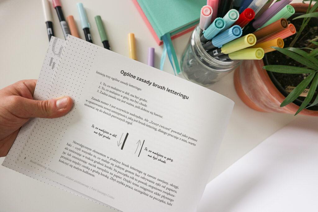Książka i brush peny. Ogólne zasady brush letteringu