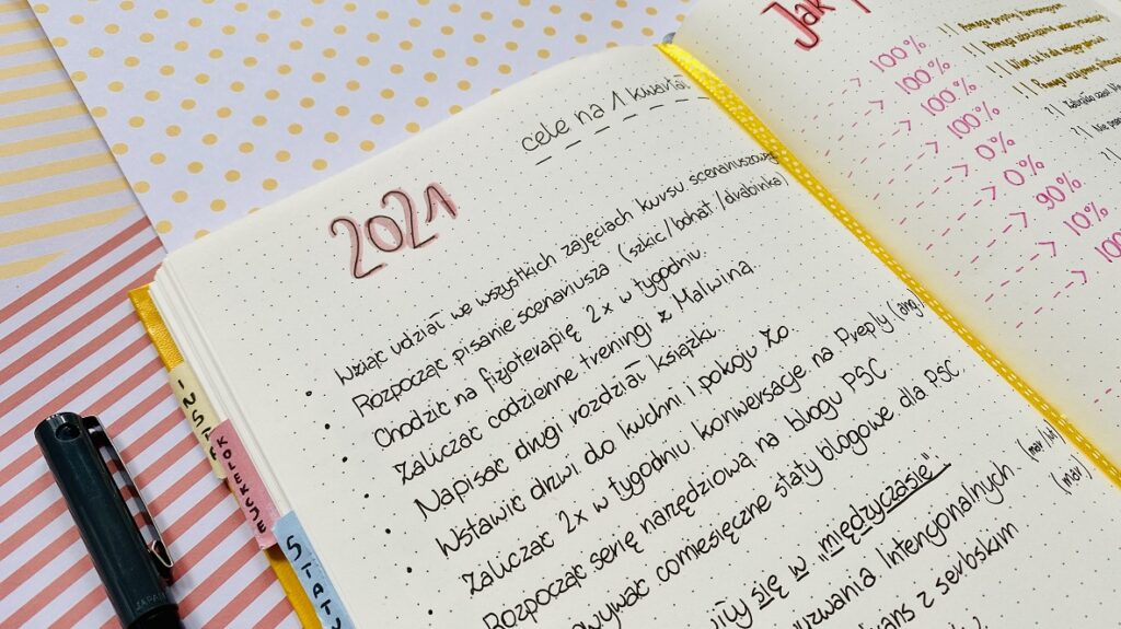 Cele na kwartał rozpisane z notesie w kropki.