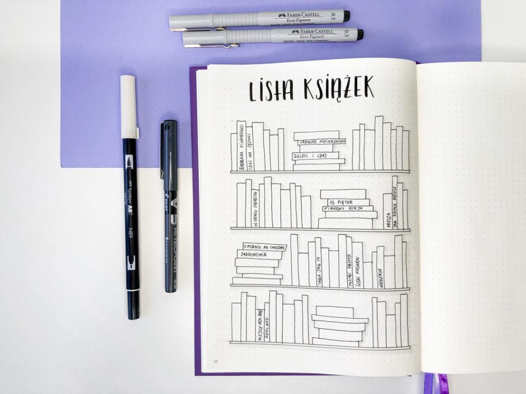 Lista książek - rozkładówka w bullet journalu.