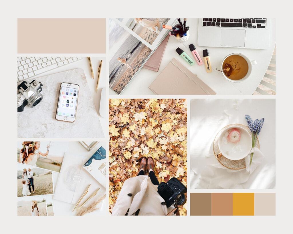 Kolaż zdjęć w pastelowych kolorach.