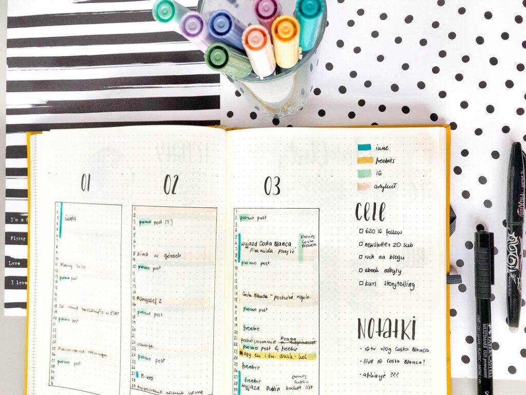 Plan postów w social mediach rozrysowany w bullet journalu.