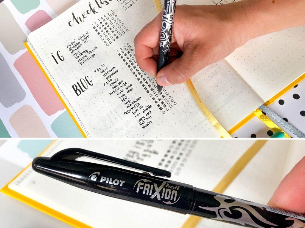 Checklista publikacji w social mediach i długopis Pilot.