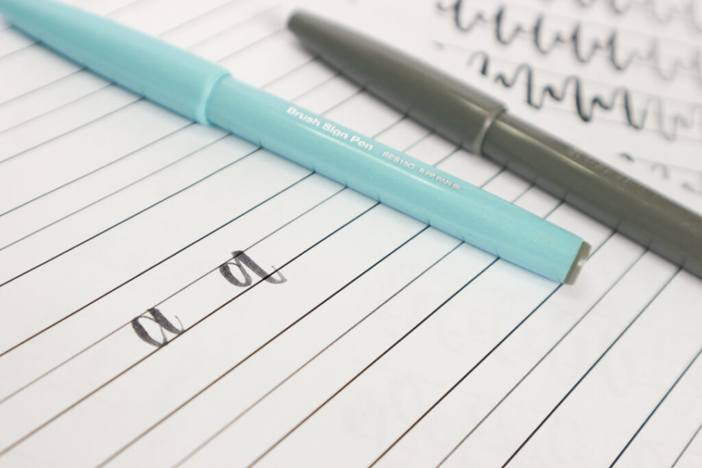 Bounce lettering - ćwiczenia brush penami Pentel.