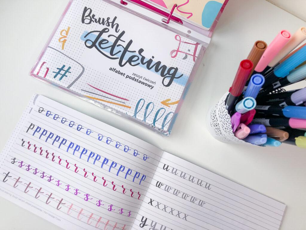 Zeszyt ćwiczeń do letteringu - alfabet podstawowy  brush peny.