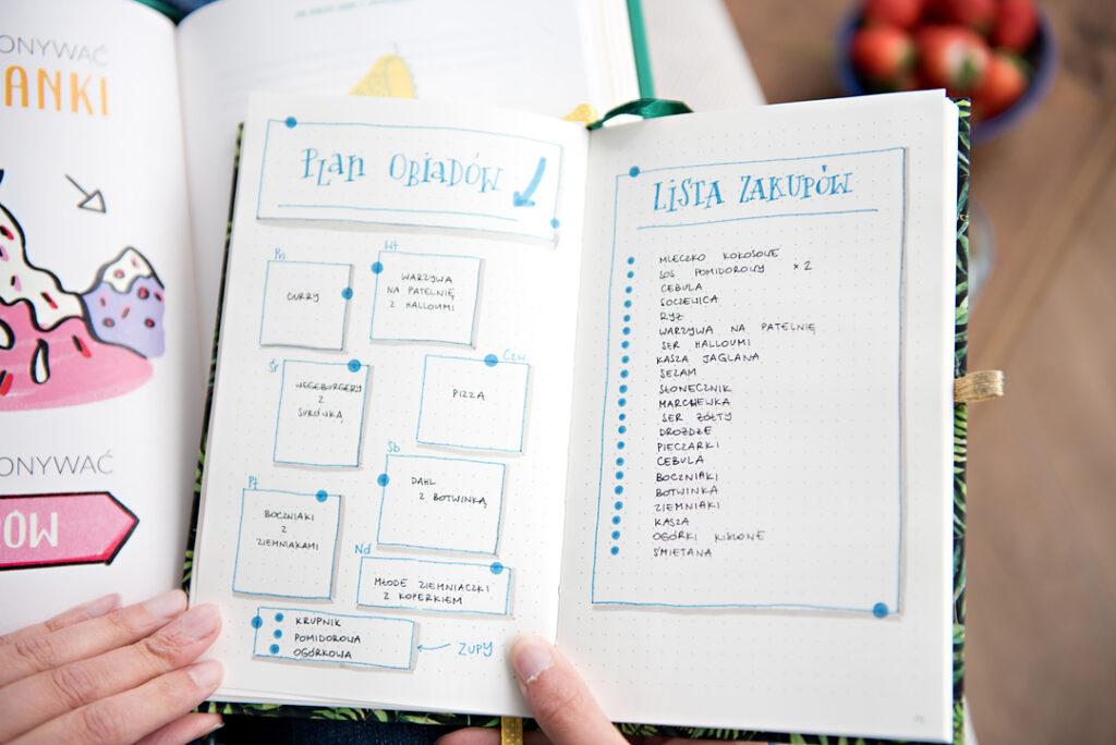 Lista zakupów w notesie w kropki.